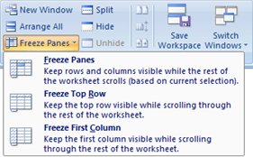 Excel - Freeze Panes