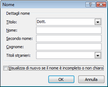 Finestra di dialogo Nome in Outlook