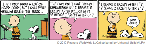 "vignetta in cui Charlie Brown dice: I NOT ONLY KNOW A LOT OF HARD WORDS, BUT I KNOW EVERY SPELLING RULE IN THE BOOK… THE ONLY ONE I HAVE TROUBLE REMEMBERING IS, ""I BEFORE E EXCEPT AFTER D""….. OR IS IT, ""E BEFORE I EXCEPT AFTER G""? ""I BEFORE B ECEPT AFTER I""? ""V BEFORE Z EXCEPT AFTER E""? Snoopy reagisce con GOOD GRIEF!"