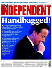 Handbagged! David Cameron's promise of EU referendum by 2017 provokes storm of controversy  – prima pagina di The Independent, 24 January 2013
