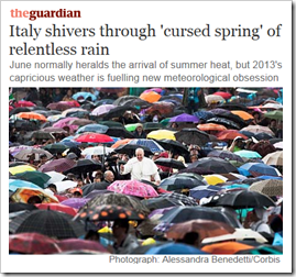 immagine articolo di The Guardian: Italy shivers through 'cursed spring' of relentless rain. June normally heralds the arrival of summer heat, but 2013's capricious weather is fuelling new meteorological obsession