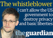 "The whistleblower (foto di Edward Snowden con le parole ""I can't allow the US government to destroy privacy and basic liberties"")"