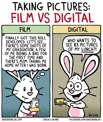 vignetta Chuck & Beans intitolata Taking pictures: film vs digital