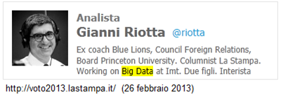 Analista Gianni Riotta  Ex coach Blue Lions, Council Foreign Relations, Board Princeton University. Columnist La Stampa. Working on Big Data at Imt. Due figli. Interista