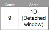 Seats: 1D (Detached window)