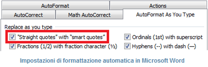 Finestra di dialogo con le impostazioni di formattazione automatica in Word: Replace as you type – Straight quotes with smart quotes