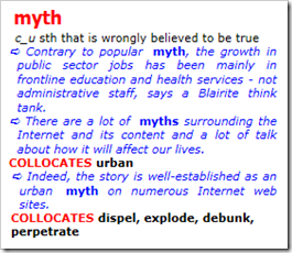 myth 3 sth that is wrongly believed to be true – Dante. A lexical database for English