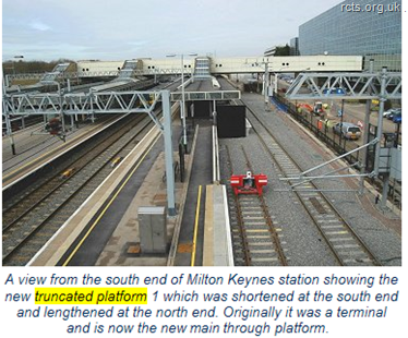 A view from the south end of Milton Keynes station showing the new truncated platform 1 which was shortened at the south end and lengthened at the north end. Originally it was a terminal platform and is now the new main through platform