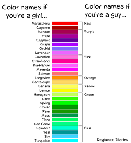 Color names if you are a girl... vs Color names if you are a guy... – Doghours Diaries