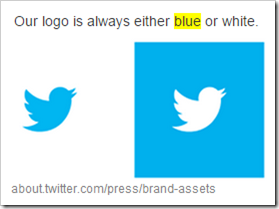"Tiwtter: ""Our  logo is always either blue or white"""