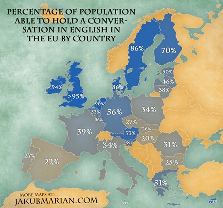 Percentage of population able to hold a conversation in English in the EU by country – map by Jakub Marian