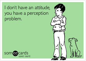 "Vignetta: ""I don't have an attitude, you  have a perception problem"""