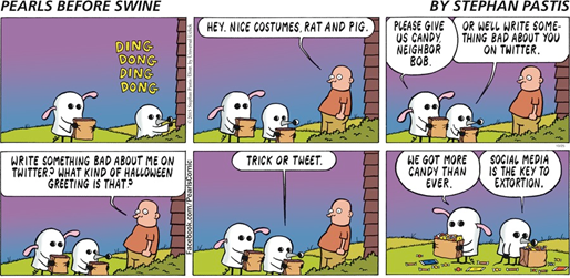 "striscia a tema Halloween di Pearls Before Swine (""Social media is the key to extortion"")"