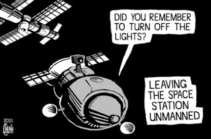 "vignetta di sinann, ""leaving the space station unmanned"""