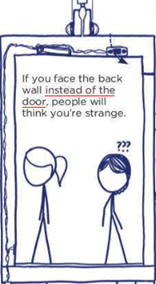 [dettaglio di cabina di ascensore] If you face the back wall instead of the door, people will think you're strange.