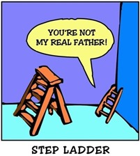 ".scaletta di legno a scala a libro: ""YOU ARE NOT MY REAL FATHER!"" Didascalia: STEP LADDER"