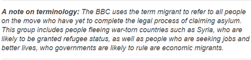 A note on terminology: The BBC uses the term migrant to refer to all people on the move who have yet to complete the legal process of claiming asylum. This group includes people fleeing war-torn countries such as Syria, who are likely to be granted refugee status, as well as people who are seeking jobs and better lives, who governments are likely to rule are economic migrants.