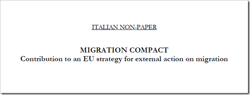 intestazione del documento: ITALIAN NON-PAPER MIGRATION COMPACT Contribution to an EU strategy for external action on migration