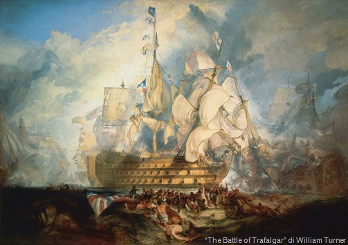 "il vascello HMS Victory Victory in ""The Battle of Trafalgar"" di Turner"