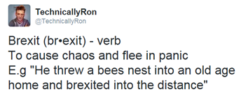 "Brexit (br•exit) - verb To cause chaos and flee in panic E.g ""He threw a bees nest into an old age home and brexited into the distance"""