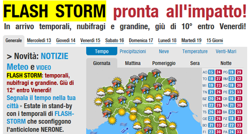 FLASH STORM pronta all'impatto! […] Estate in stand-by con i temporali di FLASH-STORM che sconfiggono l'anticiclone NERONE.