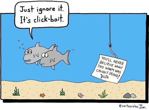 clickbait cartoon by Jim