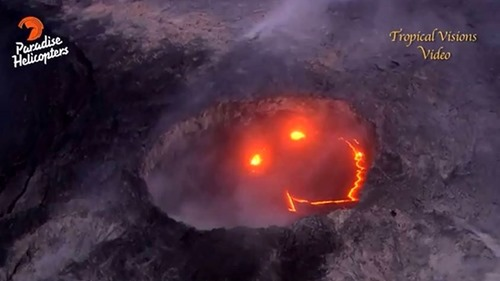 """volcano with a smiling lava face"""