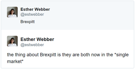 Esther Webber's tweet: the thing about Brexpitt is they are both now in the *single market*
