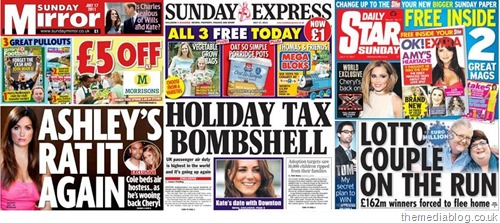 Sunday tabloids: The Sunday Mirror, Sunday Express, Daily Star on Sunday