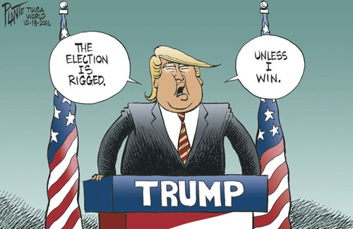 Trump: THE ELECTION IS RIGGED… UNLESS I WIN – vignetta di Bruce Plante