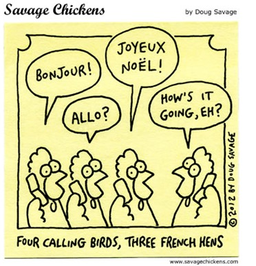 FOUR CALLING BIRDS, THREE FRENCH HENS