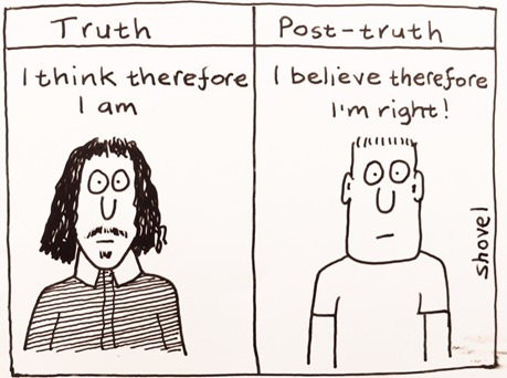 "Truth: ""I think therefore I am"" – Post-truth: ""I believe therefore I'm right"""