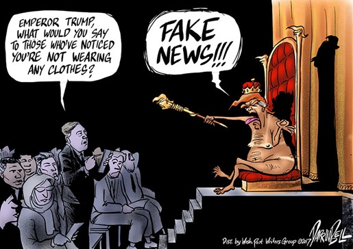 """Emperor Trump, what would you say to those who've noticed you're not wearing any clothes?"" ""FAKE NEWS!!!"""