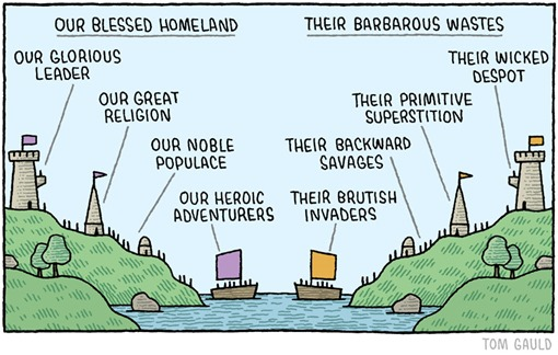 Our blessed homeland vs Their barbarous wastes by Tom Gauld