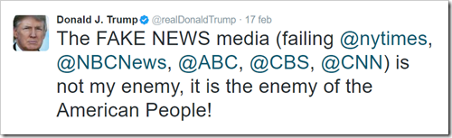 "esempio di tweet di Donald Trump: ""The FAKE NEWS media (failing nytimes, NBCNews, ABC, CBS, CNN) is not my enemy, it is the enemy of the American People!"""