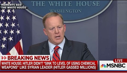"WHITE HOUSE: HITLER DIDN'T ""SINK TO LEVEL OF USING CHEMICAL WEAPONS"" LIKE SYRIAN LEADER (HITLER GASSED MILLIONS)"