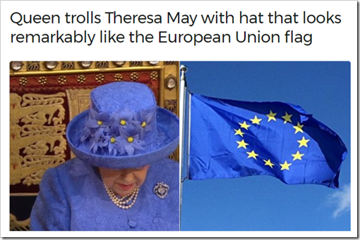 Queen trolls Theresa May with hat that looks remarkably like the European Union flag