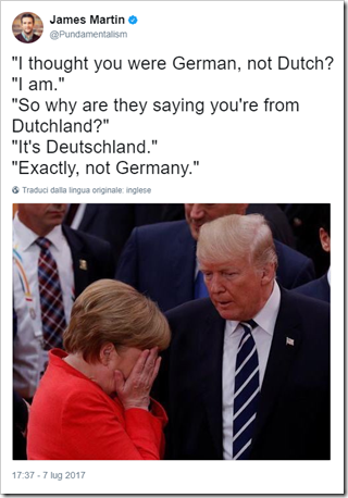 dialogo immaginario e surreale tra Trump e Merkel su Dutchland vs Deutschland