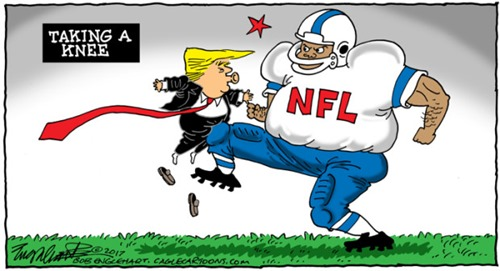 vignetta: Trump che prende una ginochiata all'inguine da un giocatore di football e la dicitura TAKING A KNEE