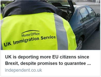 Brexit: Deportations of EU citizens soar since referendum. The number of EU citizens being removed from the UK has now increased fivefold since 2010 – The Independent, 10 September 2017