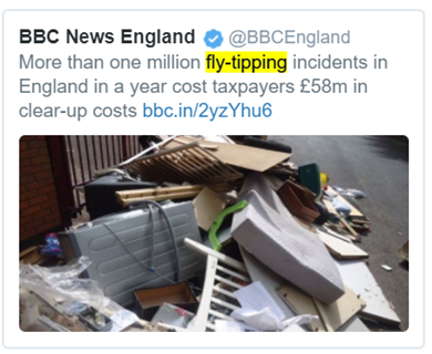 More than one million fly-tipping incidents in England in a year cost taxpayers £58m in clear up costs.