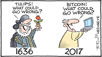 "Vignetta: 1636, uomo in abiti rinascimentali con un tulipano che dice ""Tulips! What could go wrong?""  2017 uomo moderno con un laptop che dice ""Bitcoin! What could go wrong?"""