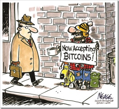 "Mendicante con cartello ""Now accepting BITCOINS!"""
