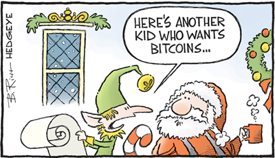 "Vignetta con elfo che mostra letterina a Babbo Natale e dice ""HERE'S ANOTHER KID WHO WANTS BITCOINS"""