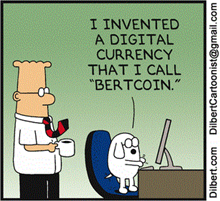 "Dogbert, il cane di Dilbert, annuncia ""I invented a digital currency that I call 'Bercoin?"""