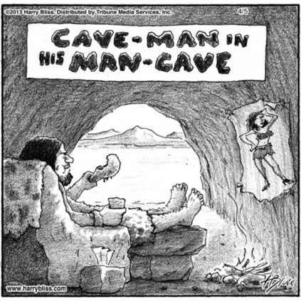 cave-man in his man-cave