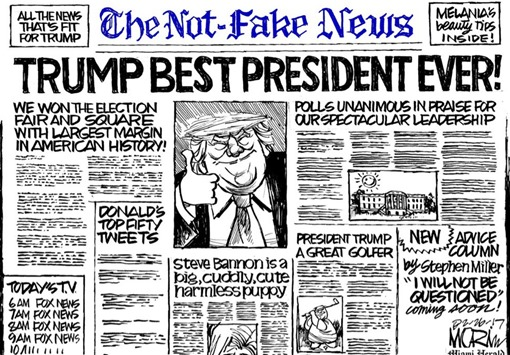 "vignetta con prima pagina di giornale dal nome The Not-Fake News con titoli favorevoli a Trump, come ""Trump best president ever!"""