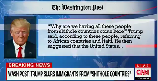 """Why are we having all these people from shithole countries come here?"" Trump said, referring to African countries and Haiti."