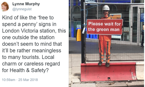 Kind of like the 'free to spend a penny' signs in London Victoria station, this one outside the station doesn't seem to mind that it'll be rather meaningless to many tourists. Local charm or careless regard for Health & Safety?