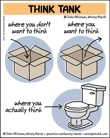"Vignetta intitolata THINK TANK con due scatoloni aperti, uno con una freccia verso l'interno e la didascalia ""where you don't want to think"" l'altro con la freccia verso l'esterno e ""where you want to think"" e sotto un water con ""where you actually think"""
